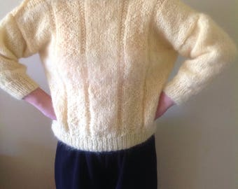 Yellow mohair sweater, yellow sweater,retro mohair sweater, yellow jumper,NZ mohair wool sweater,mohair 100percent mohair jumper.