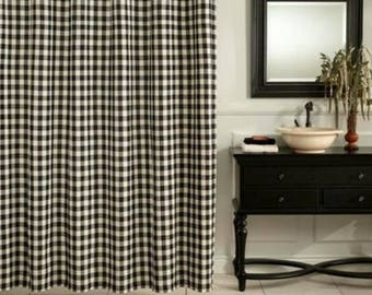 Black Gingham Check Curtains - Plaid Curtains - Country Curtains - Checked Drapes - Curtains - Buffalo Drapes - Gingham -2 Panels