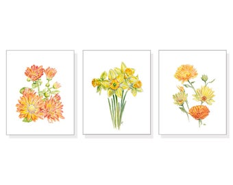Yellow Flower Painting Flower Watercolor Flower Print Yellow Floral Painting Floral Watercolor Floral Prints Daffodil Coreopsis Mum Set of 3