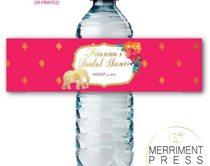 Indian Themed Water Bottle Labels / Gold Elephant / paisley / Mandala / Water Wrap / Bollywood / Printed or Printable // JAIPUR COLLECTION