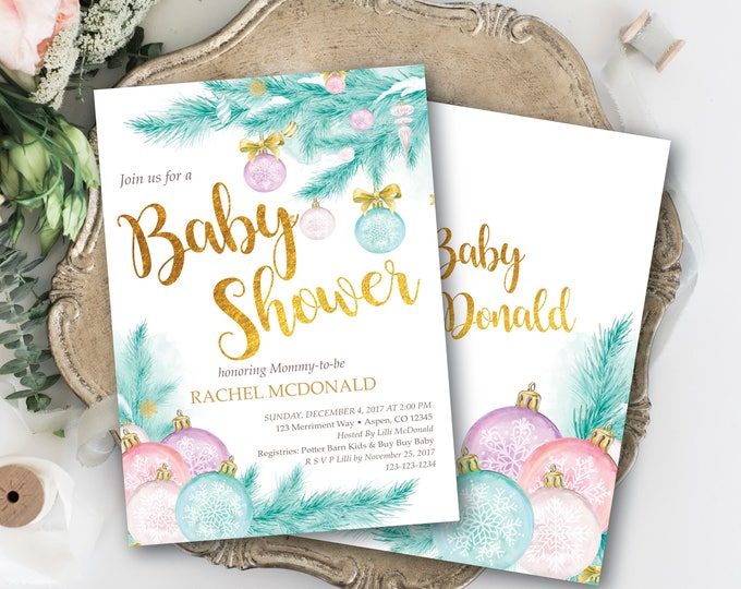 Holiday Baby Shower Invitation // Chirstmas Tree // Winter Baby Shower // Gold // Gender Neutral // Pink // Blue // ASPEN COLLECTION