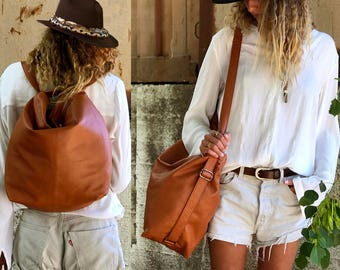 SALE! Brown Leather rucksack laptop rucksack back zipper pocket 15 inch laptop bag rucksack for laptop 13 Convertible rucksack for Travel