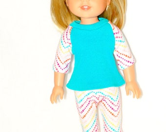 Handmade Baseball style T-shirt and Cropped Leggings to fit 14.5 in Dolls such as wellie wishers doll clothes AG