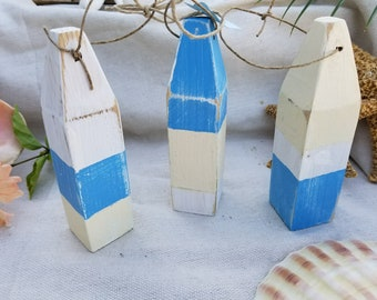Set of 3 recycled mini buoys perfect for coastal nautical beach decor.