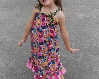 Smocked sundress ruffle top maxi dress, Superhero print fabric, child's smocked dress, toddler smocked dress, back to school
