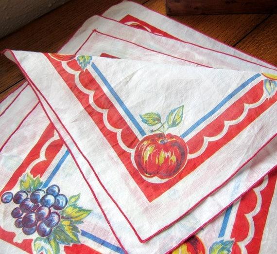 Summer Fruit Napkin Set Of 4 Cotton Batiste 11 Inches Square Farmhouse Kitchen Decor