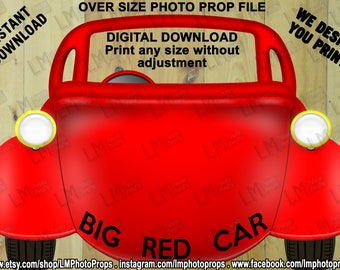 Big Red Car Prop File, Wiggles Inspired Prop, Big Car Photo Prop, Wiggles Party Photobooth, DIY, INSTANT DOWNLOAD, printable, Do it Yourself
