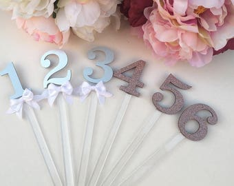 Acrylic glitter stick table numbers 1-8 set