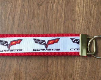 Corvette Key Chain Wristlet Zipper Pull