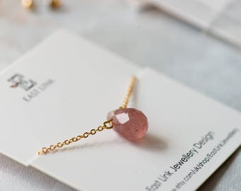 14K gold plated water drop shaped plum natural stone gemstone pendant necklace cut surface by East Link jewellery design
