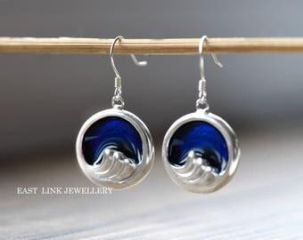 990 sterling silver blue enamel wave round drop earrings dangle hook earrings womens gift mother's day gift