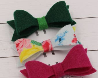 Felt Hair Bow Trio- Spring, St. Patrick's Day, Valentine's Day