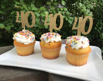 40th Birthday Cupcake Toppers 12 Ct.,  Glitter 40th Birthday Decoration, 40th Birthday Table Decorations, Age Cutouts, Cupcake Decorations