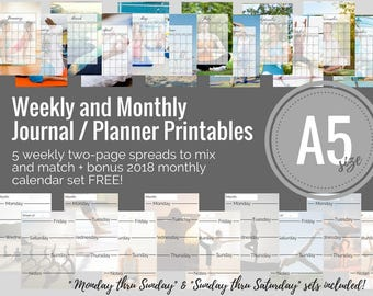 A5 Weekly and Monthly Planner / Journal Printable Set