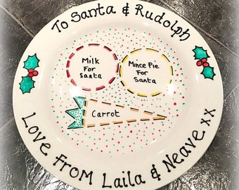 Christmas Eve Plate / Santa Plate / Rudolph Plate / Mince Pie Plate : mince pie plate - pezcame.com