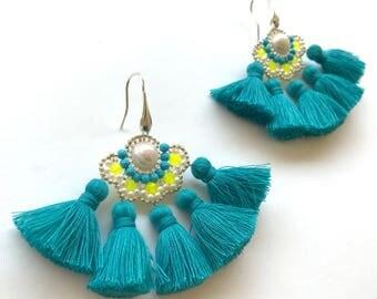 Turquoise Tassel Earrings Pearl Beaded Earrings Premium Jewelry Gemstone Earrings Gift for Women Anniversary  Gifts Bridal Shower Favors
