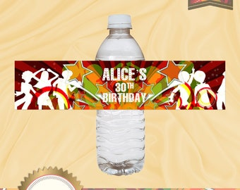 Dancing with Colors, 70's Disco Water Bottle Labels,  Digital File, EDITABLE text, Microsoft® Word Format