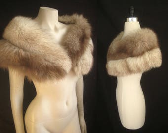 Romantic Norwegian Blue FOX FUR CAPELET White Cape Stole Wrap Shrug Bolero Coat Jacket ~ Winter Wedding ~ Bridal ~ Brown Cream ~Smaller size