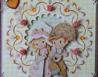 card, 3d picture young couple country child
