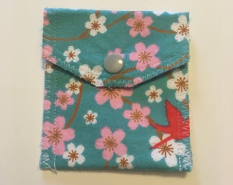 Blue Cherry Blossom flannel card pouch