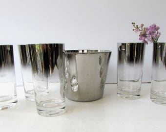 Mid Century Barware - 8 piece set - Silver Banded Ombre Lusterware or Mercury Fade  - Mod -  Ice Bucket with 7 Tumblers and 6 Shots