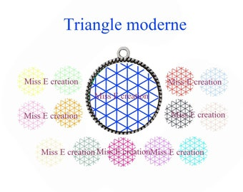 Modern triangle print of digital images for cabochon 25mm and 20mm and 18mm