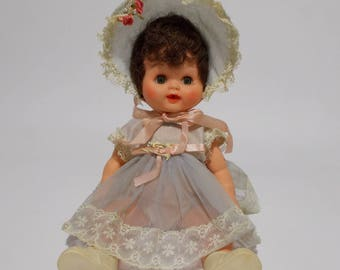 Vintage Baby Doll Drinks Wets Sleepy Eye Sheer Dress Bonnet Brown Hair Vinyl 1950s