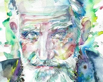 GEORGE BERNARD SHAW - original watercolor portrait - one of a kind!