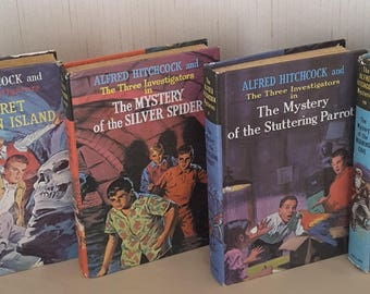 Classic  Vintage Children's Book s Alfred Hitchcok and The Three Investigators ( set of 4 Hard Back Books)