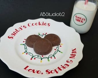 Milk and Cookies for Santa Set, Cookies for Santa Plate, Christmas Plate, Santa Cookie Plate, Christmas Cookie Plate, Kids Christmas Gift