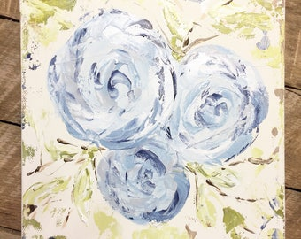 Floral painting, floral art, flower painting, floral decor, rustic decor, original art