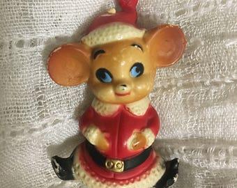 Christmas Santa Mouse Mice Mid Century Mod Plastic Hong Kong Retro