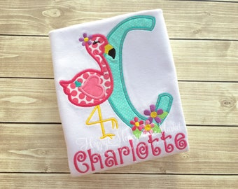 Summer flamingo alphabet letter applique shirt tshirt bodysuit monogrammed embroidered flowers heart zoo animal pink bird heart