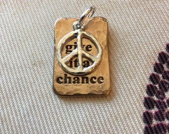 Bronze charm with Peace Sign #2