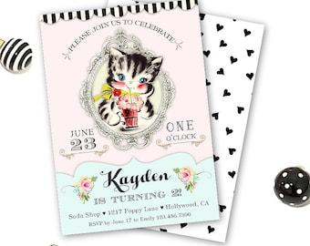 Kitty Cat Birthday Invitations, Cat Birthday Invite for a Girl, Kitty Cat Birthday Party Invitation, Pastel Colors, Black and White Hearts