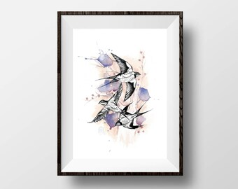 "Swallows - Bird Watercolour Ink Illustration Giclée Fine Art Print - 5x7"""