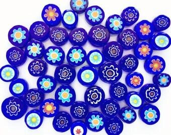 Starry Night 50/100 Handmade Millefiori Glass Beads for Mosaic Decoration, Murano Lampwork & Jewellery (3-6mm thick and 5-12mm diameter)