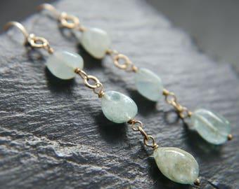 Natural Aquamarine, Sea Glass, Sea Foam, Raw Stone, Gold Filled Earrings, Aquamarine Nugget, Gemstone Earrings, Wedding, Bridesmaid, Organic