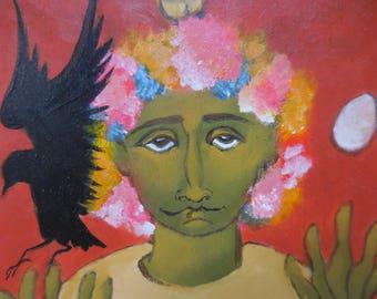 "original folk painting, ""The Juggler"""