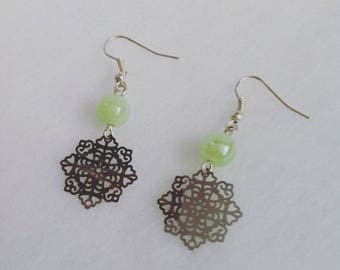 Earrings silver fine prints and green beads