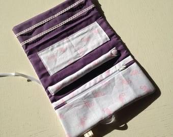 Flamingos travel jewelry pouch