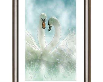 Diamond Painting kit DIY Swans Rhinestone Crystal Diamond Embroidery kit Picture with rhinestones kit
