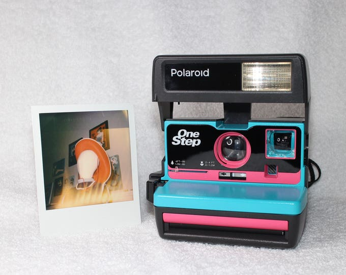 Upcycled Turquoise and Pink Polaroid 600 OneStep With Close Up And Flash Built-In - Ready To Use
