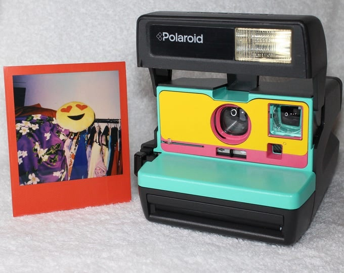 Ready To Go! Upcycled Retro Green, Pink and Yellow Polaroid 600 OneStep