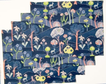 Large Cloth Place Mats - Set of 4 - Blue Pink Yellow Green Forest Woodland Animals Deer Bear Flowers -  Reversible