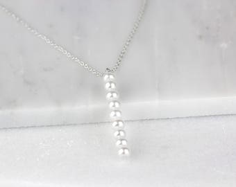 Pearl Bar Pendant, Bar Necklace, Pearl Jewelry, Pearl Necklace, Freshwater Pearl, Bar Pendant