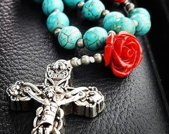 Turquoise and Red Rose Rosary