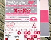 February Monthly Planner Kit -Valentines Kit - for use with Erin Condren -Happy Planner - Hearts Pink Red Stickers