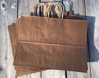 """20 Pack Large Chocolate Brown Gift Bags/16""""x6""""x12"""" Brown Gift Bags/Brown Kraft Gift Bags"""