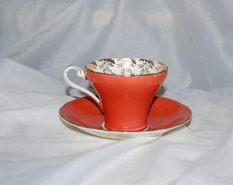 Vintage Aynsley Bone China Tea cup and saucer Burnt Orange